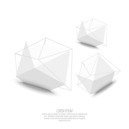 solid figure: Abstract forma geometrica poligonale. low poly e stile minimal. Illustrazione vettoriale Vettoriali