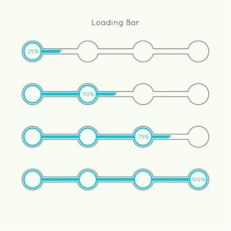 벡터 다운로더의 집합입니다. 진행률 표시 줄과 로딩 아이콘입니다. UI 프리 로더 웹 요소입니다. 평면 디자인