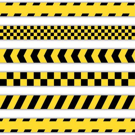 murder scene: Conjunto de cintas de barrera amarillo, cintas de polic�a, l�nea de Precauci�n y cintas de peligro Vectores