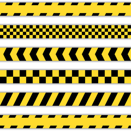 urban scene: Set of yellow Barrier Tapes, police tapes, Caution line and danger tapes