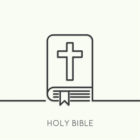 십자가와 성경. 기독교와 용서의 상징. 최소. 개요. 일러스트