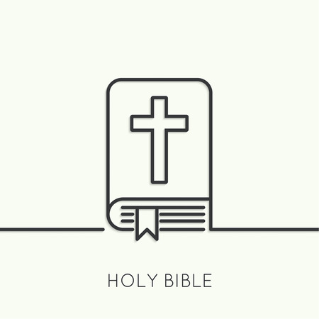 christian prayer: Bible with a crucifix. Symbols of Christianity and forgiveness. minimal. Outline.