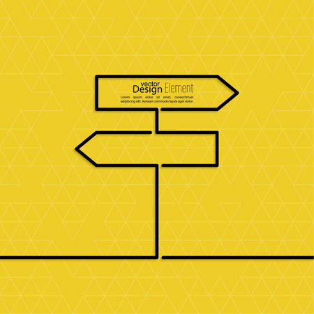 Vector abstract background with direction arrow sign. The concept of a decision making standing on road junction. Movement in an unknown direction. uncertainty choice Illustration