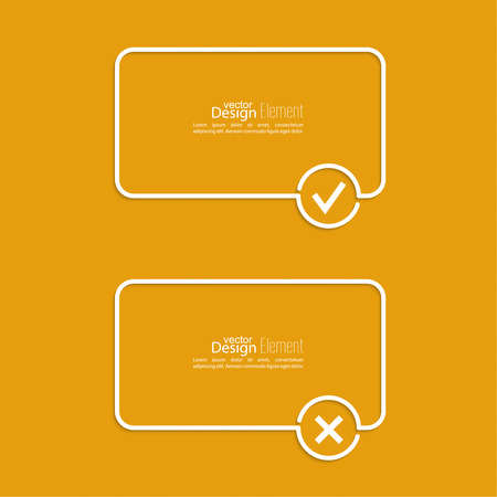 Vector Banners With Check Marks Confirmation Acceptance Positive