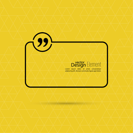 feedback sticker: Vector abstract background with triangles.Quotation Mark Speech Bubble. Quote sign icon.