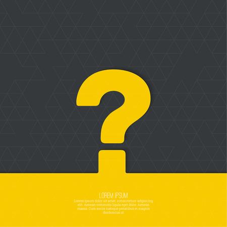 疑問符のアイコン。シンボルを助けます。よくあるご質問は、黄色の背景に署名します。ベクトル