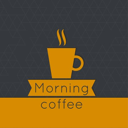 coffeehouse: Morning Coffee label. Tag with coffee cup, aroma and ribbon.  for menu, restaurant, cafe, bar, coffeehouse. Illustration