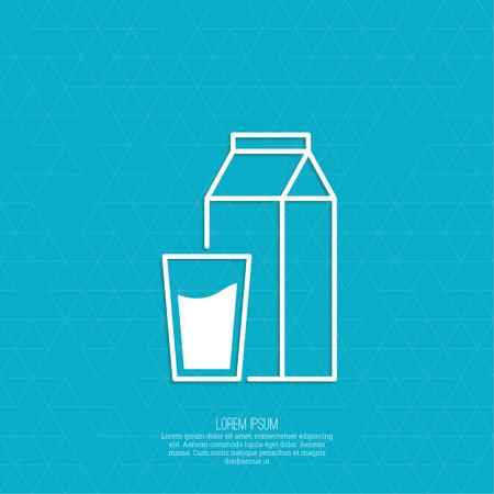 caja de leche: Embalaje de papel con un vaso lleno de leche. Resumen de antecedentes con un patrón de triángulos. icono de vector.