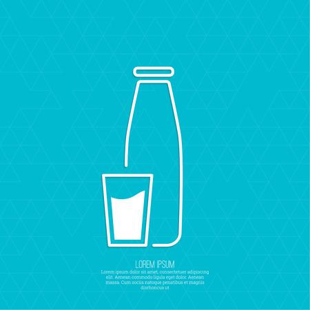 latte fresco: La tradizionale bottiglia di latte e tazza di vetro. Sfondo con un pattern di triangoli. icona