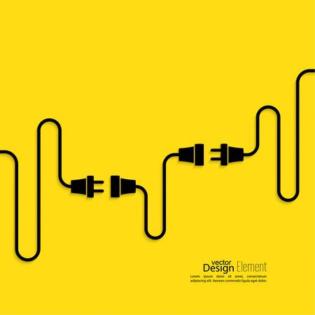 Resumen de antecedentes con el enchufe de cable y el zócalo. Concepto conexión, conexión, desconexión, electricidad. Diseño plano. Amarillo, negro
