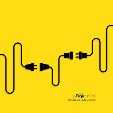 Sfondo astratto con spina filo e socket. Collegamento concetto, connessione, disconnessione, elettricità. Design piatto. Giallo, nero
