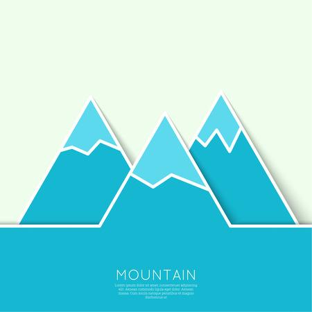 montañas nevadas: Las montañas con picos nevados. Vector icono. Senderismo, escalada, viajes. Investigación de la salvaje Vectores