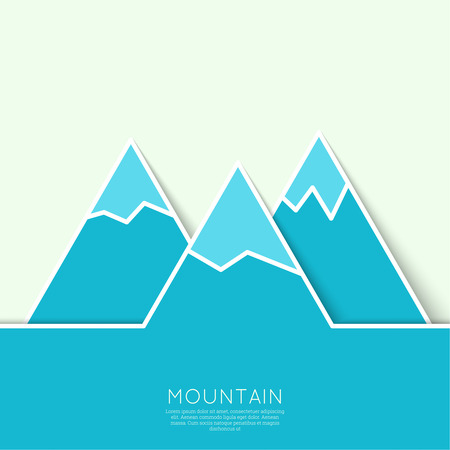 snowy mountains: The mountains with snowy peaks. Vector icon. Hiking, climbing, travel. Investigation of the Wild