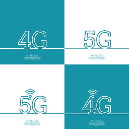 5g: Icon Wireless 4g, 5g. New technology, high speed internet access. Open access. Wi fi icon. Outline. minimal.
