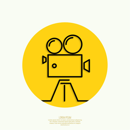 video reel: Old movie camera with reel on yellow background.Icon. Symbol of the film industry, cinema, photography. minimal. Outline. Mobile applications