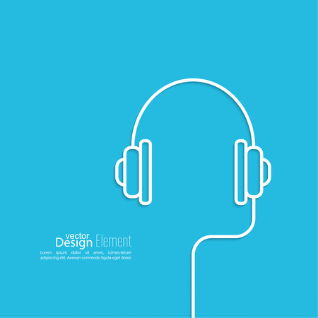 dj headphones: Headphones with a wire on a blue background. icon. minimal. Outline. Mobile and Web Applications