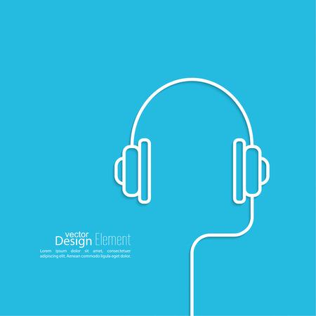 Kopfhörer Mit Einem Draht Auf Einem Blauen Hintergrund. Symbol ...