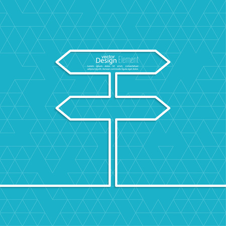 uncertainty: Vector abstract background with direction arrow sign. The concept of a decision making standing on road junction. Movement in an unknown direction. uncertainty choice Illustration