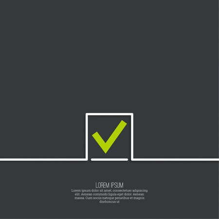 Vector banners with check marks confirmation, acceptance positive passed voting agreement true. Vector