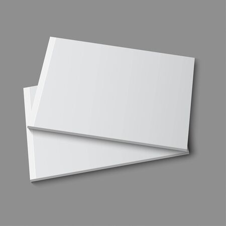 mockup: Blank empty magazine, album or book template lying on a gray background. vector Illustration
