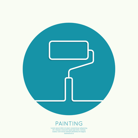 house painter: Paint roller with a strip of paint and drops. For ads, promotion, announcement and advertising and mobile applications. Outline. minimal. Vector icon. logo