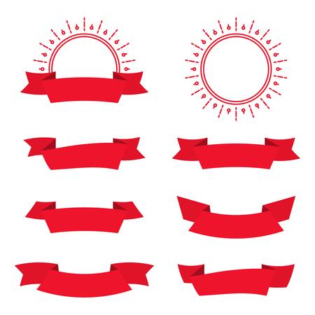 sunbeams: Set of decorative vintage elements. Ribbon and round badge with sunbeams Illustration
