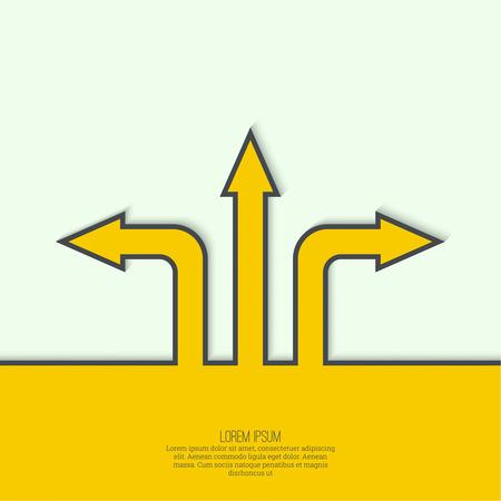 arbol de problemas: Fondo abstracto del vector con signo flecha de dirección. El concepto de la toma de decisiones de pie en cruce de carreteras. Movimiento en una dirección desconocida. elección incertidumbre
