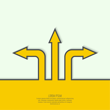 Vector abstract background with direction arrow sign. The concept of a decision making standing on road junction. Movement in an unknown direction. uncertainty choice Ilustracja