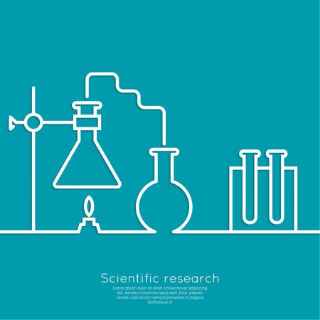 El concepto de réplicas de ciencias químicas de laboratorio de investigación, vasos, frascos y otros equipos. Las pruebas biológicas y científicas. de descubrimiento de nuevas tecnologías. mínima. Esquema. Ilustración de vector