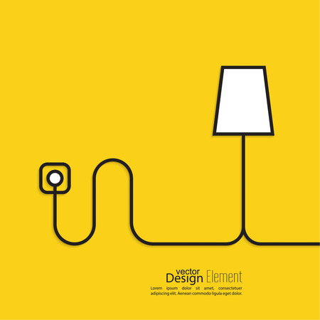 power plug: Floor lamp wire connected to a power outlet. Electric light creates homeliness. Yellow abstract background. minimal. Outline.