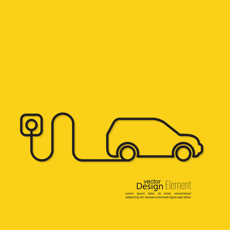 yellow car: Icon of a hybrid car that runs on electricity. Recharge and clean energy. flat design. minimal. Outline. yellow background