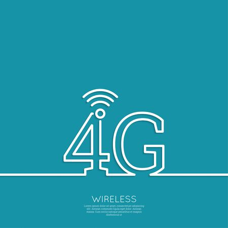4g: Icon Wireless 4g. New technology, high speed internet access. Open access. Wi fi icon. Outline. minimal.
