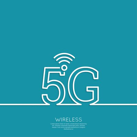 5g: Icon Wireless 5g. New technology, high speed internet access. Open access. Wi fi icon. Outline. minimal. Illustration