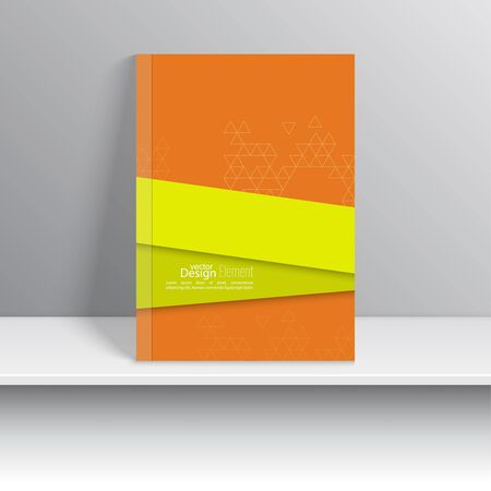 notebook cover: Magazine Cover with overlapping shapes and triangles. For book, brochure, flyer, poster, booklet, leaflet, cd cove, postcard, business card, annual report. abstract background. green, orange Illustration