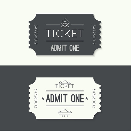 cinema ticket: Entry ticket to old vintage style.Admit one theater, cinema, zoo, swimming pool, fair, rides, swing, amusement park, carousel. icon for online booking of tickets. Web and mobile app Illustration