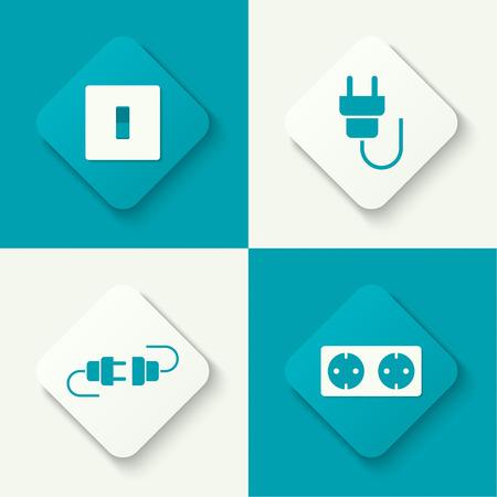 energia electrica: Conjunto de iconos vectoriales con enchufe de cable y enchufe, interruptor de encendido. Botones para web y aplicaciones m�viles. dise�o plano Vectores