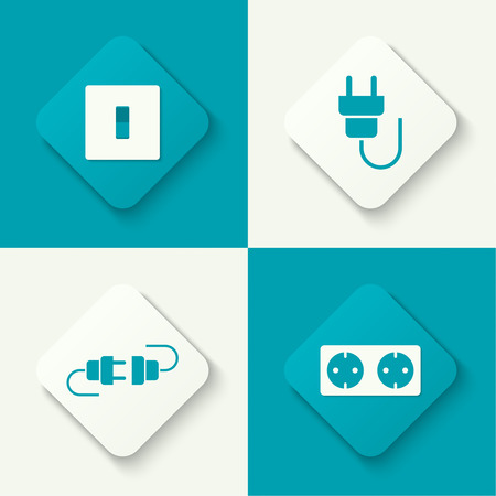 electric plug: Set of vector icons with wire plug and socket, power switch. Buttons for web and mobile applications. flat design