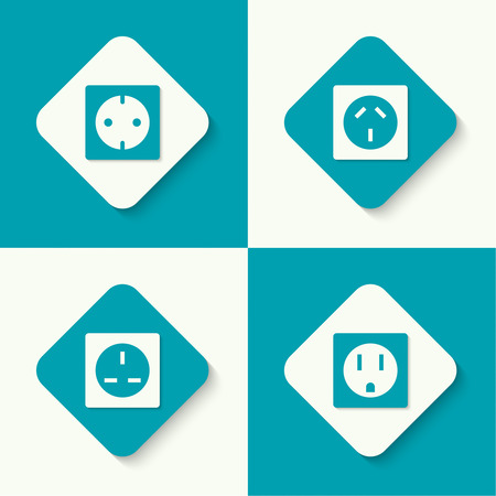 receptacle: Set of vector icons electrical sockets of different standards. Mobile and web applications. flat design Illustration