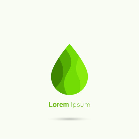 water on leaf: Green Water drop abstract vector logo design template. Liquid Droplet concept symbol. Green leaf, concept of clean fuel