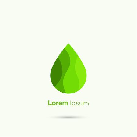 Green Water drop abstract vector logo design template. Liquid Droplet concept symbol. Green leaf, concept of clean fuel