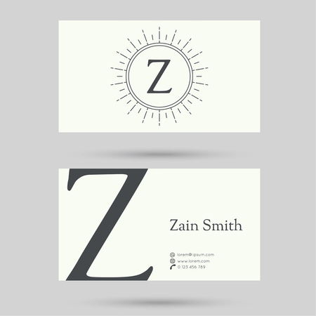 user name: Trendy business card template with vintage hipster banners, insignias, radial sunbusrt. Flat design. minimalism, outline. icon or corporate identity. letter z