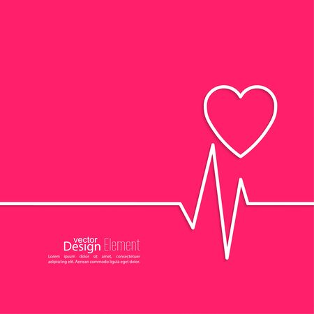 pulsating: Cardiogram with heart. Cardiology Medical Center. Outline. minimal. red