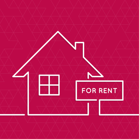 premises: House with a sign for rent. Rental housing. real estate . red background. minimal. Outline.