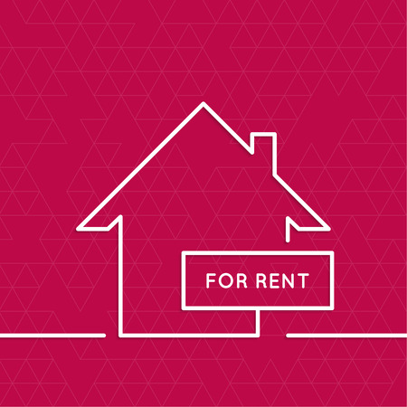 premises: House with a sign for rent. Rental housing. real estate. red background. minimal. Outline.