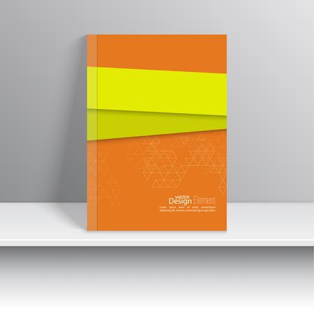 portada de revista: La portada de revista con formas superpuestas y tri�ngulos. Para el libro, folleto, folleto, cartel, folleto, prospecto, cala cd, tarjetas postales, tarjetas de visita, el informe anual. resumen de antecedentes. verde, naranja