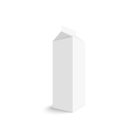 corrugated box: Package white box on a white background. vector. Realistic 3d blank for milk or juice
