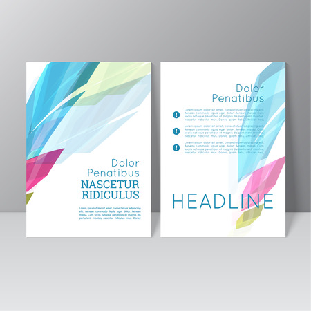 annual: Vector brochure template design with colored crystals, trellis structure. Flyer or booklet Layout.