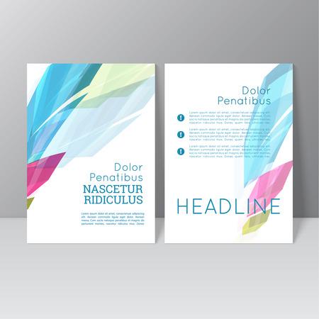portadas: Vector de diseño plantilla de folleto con cristales de colores, estructura de enrejado. Flyer o Diseño de folleto.