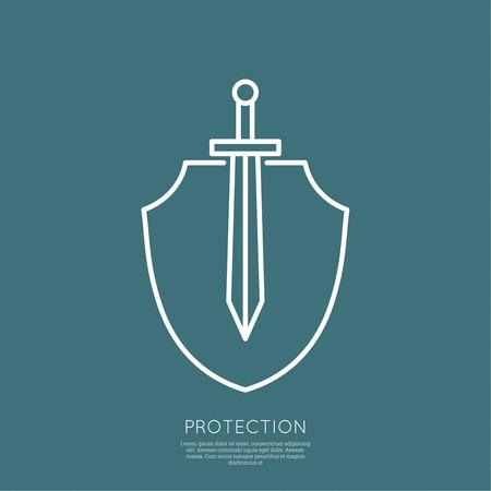 Schild en zwaard. Symbool van de verdediging en aanval. minimaal. Outline.