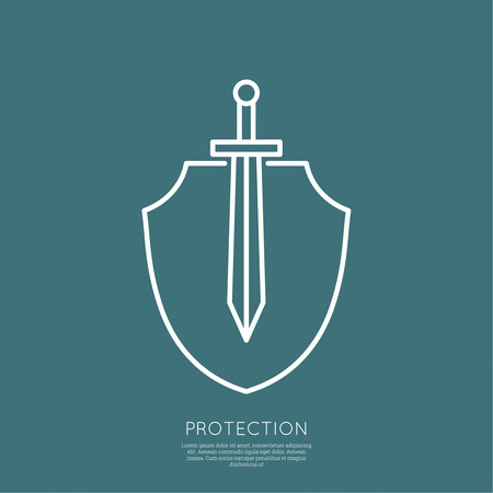 shield logo: Shield and sword. Symbol of defense and attack. minimal. Outline.